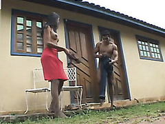 Insatiable shemale and muscle rafter surrender to outdoor butt-banging frenzy