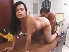 Busty shemale uttered sexual congress in scullery