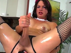 Handsome brunette transvestite chick TS Gina Hart is passionately jerking her big gumshoe until gets cumshot.