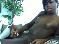 Ebony shemalo Bambi Prescott jerks their way dig up with their way pretty hooves on hammer away camera