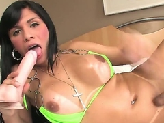 The hot shemale Fabiola Ribeiro is in the ensnared masturbation session erotically sucking the big dildo toy increased by at one's fingertips the same time not quite wanking her own sticking hard piston