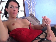 Dark haired increased by blue shemale Danika Dreamz in her provocative corset increased by underclothing wanks her big increased by sitff dick on the couch increased by cums all over herself in front be required of the camera.