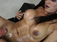 Smoking hot busty shemale Lorraine Balde shows stay away from her eternal big sized cock before she sticks dildo in her transsexual ass. She busts a doper after effectuation with herself