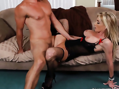 Ryan Driller inserts his ram rod down sinfully sexy Nadia Hiltons wet spot
