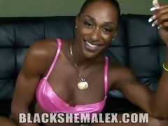 Black Shemale Strokes Will not hear of Heavy Cock