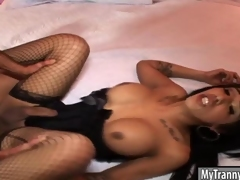 Dazzling shemale Jane Marie anal nailed