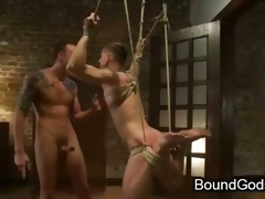 Tied everywhere and suspended gay stunned