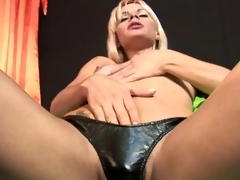 Salacious blonde transistor Thays Schiavinato touching her snug breasts and effectuation with her hard cock