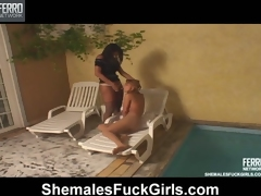 Sizzling hot shemale craving to cream cute coddle sunbathing on the pole
