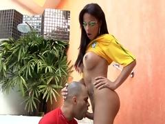 Sexy brazilian shemale fucks a stud