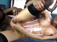 Alluring ladyboy and ebony tgirl fucks